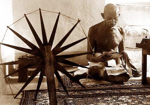 Gandhi Spinning Cotton