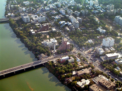 Aerial view of Ahmedabad on Sabarmati River