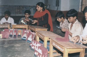 Manav Sadhna Children making Post cards
