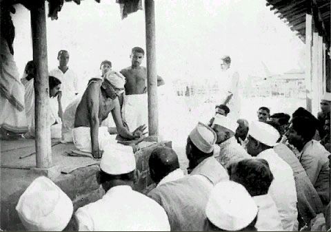 Gandhi speaking at the newly established Sevagram Ashram